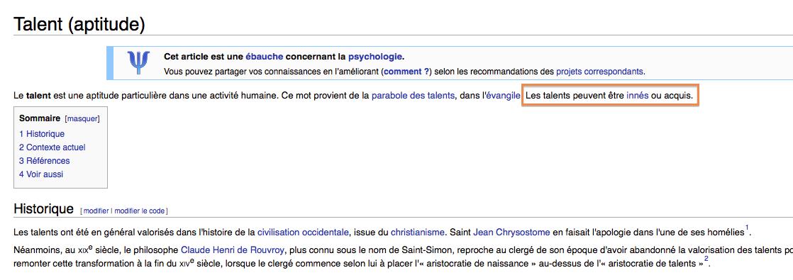 définition du talent wikipédia